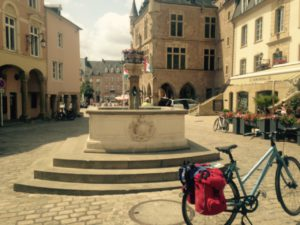 break in a quaint village on our bike tour